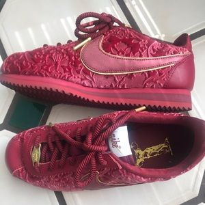 Nike Cortez. Red velvet with gold. Women's size 7